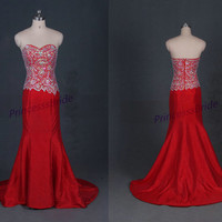 2014 new red satin prom dresses with crystals,long sweetheart gowns for wedding party,cheap elegant women dress on sale.