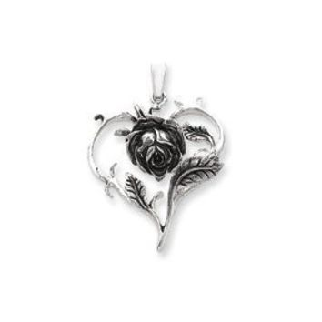 Sterling Silver Antiqued Rose Heart Pendant - Measures 1 1/2 Inch - JewelryWeb