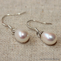 Bridesmaids Pearl Earrings,White Ivory Freshwater Pearl Jewelry,Sterling Silver Earring Hooks,7-8mm Natural Rice Pearls