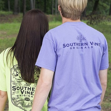 Southern Vine Originals Tree Roots Logo Unisex Lilac Bright Pocket T Shirt