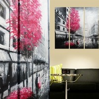 Paris and Pink Tree Painting On Canvas Fine Art Size 47 x 35 Inch 001