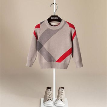 Autumn and winter children's sweater 2016 baby boys O-neck sweater Luxury brand 1-5T Toddler boys warm sweater