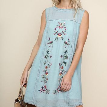 Blue Sleeveless Embroidered High Neck Dress