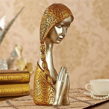 handmade gold & silver vintge resin pretty girl pray figurine for wedding ornaments modern home decoration