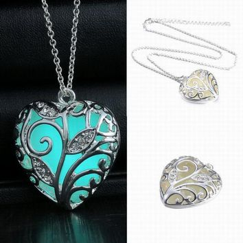 Hollow Silver Color Glow In The Dark Pendant Necklaces