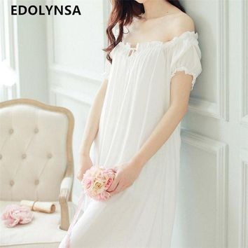 VONG2W New Arrivals Summer Long Nightgowns O-neck Loose Ladies Dresses Princess Sleep Wear Solid Lace Home Dress Sexy Nightdress #H10