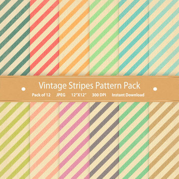 Stripe Digital Paper Vintage Stripes Digital Backgrounds Commercial Use Scrapbooking Paper Printable Pattern Digital Download Blue Green Red