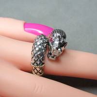 18k and Sterling Silver Dragon Wrap Ring with Ruby Eyes 3D SZ9  12.70g