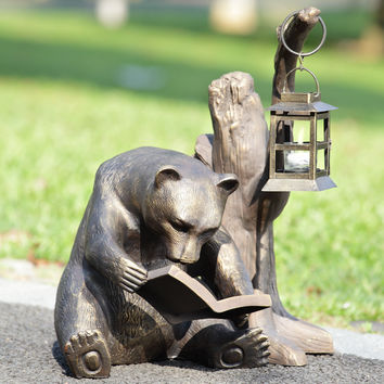 Garden Candle Lantern with the Sculpture of Book Loving Bear by SPI-HOME