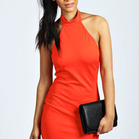 Carrie High Neck Halter Bodycon Dress