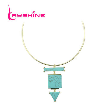 Kayshine Indian Jewelry Ethin Style Gold Choker Necklace Beige Green Turquoise Geometric Pendant Necklace