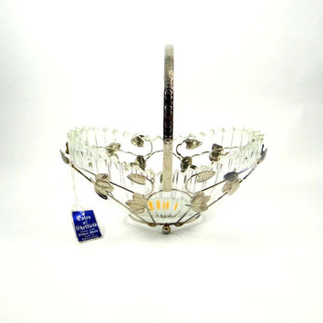 Gales of Sheffield Silver Plate and Glass Basket from 1950s