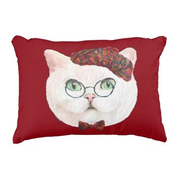 Fancy Cat Lovers Decor Top Hat Bow Tie Glasses Decorative Pillow