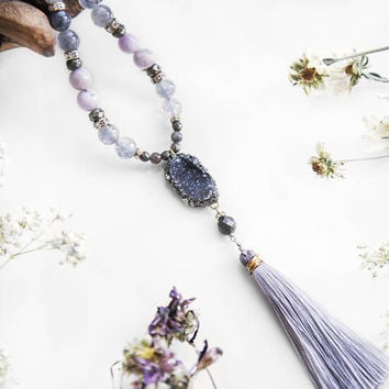 DRUZY MALA NECKLACE - Grey Druzy - Kunzite, Cloudy Quartz, Pyrite, Gemstone Beaded Necklace, Silk Tassel , Boho Chic Jewelry, Natural Stone,