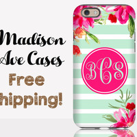 Monogramed Pink Mint Flowers Striped Phone Case