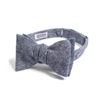 Navy Linen Chambray Bow Tie