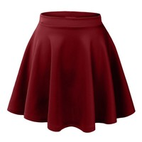 Womens Casual Flared Color Skater Skirt