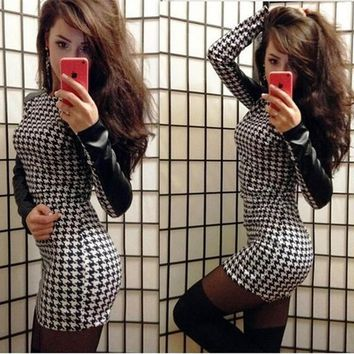 Black Patchwork PU Leather Long Sleeve Fashion Mini Dress