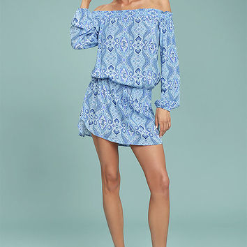 Lucy Love West Indies Light Blue Print Off-the-Shoulder Dress