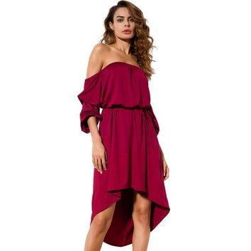 Asymmetrical Women Dress Half Sleeve Summer Style Off Shoulder Dresses Women Fashion Casual Backless Midi Dress Black Red