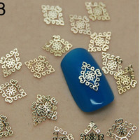 3d nail art, 40 pcs  of gold metallic nail charm