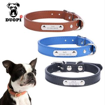 Personalized Leather Dog Collars Custom Cat Dogs Name Phone ID Collar Free Engraving Metal Buckle for small Medium dogs