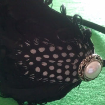 Black, Black fascinator, black feather, black headband, headband, pin up, black holiday , holiday party, new years eve party, pearl,peacock