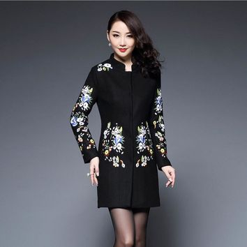 Hot Womens Coats Fashion Chinese Retro Style Embroidery Embroidered Floral Print Wool Woolen Long Coats Jacket Cloak Womens 4XL