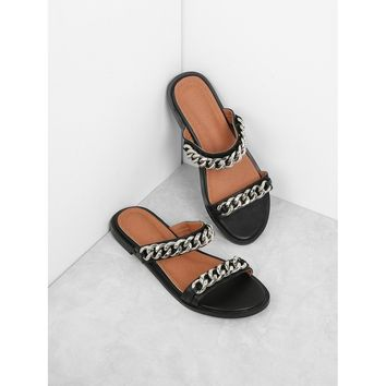 Chain Detail Two Strap Sandals