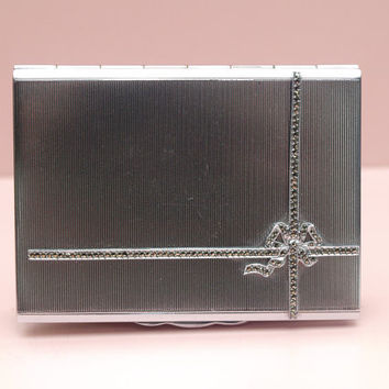 Cigarette Case, Small Metal Tin, Marcasite, Ribbon Bow, Silver Toned, Card Holder, Buisness Card Case, Ladies Card Case - 1940s / 1950s
