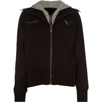 Full Tilt Girls Twill Hooded Bomber Jacket Black  In Sizes