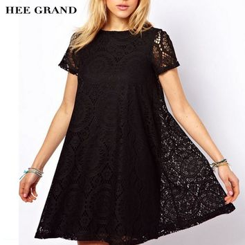 GRAND Summer Style Women Lace Short Sleeves O-neck Western Dress