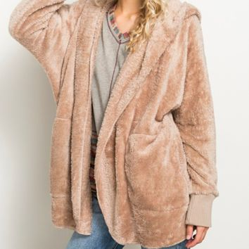 Totally Tan Hooded Teddy Jacket (Back In Stock)