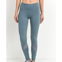 Active Hearts - Slanted Mesh Panels Full Length Sports Leggings in Light Teal