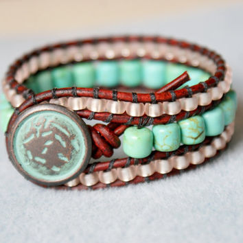 Sour Apple leather bracelet, wide cuff, Shabby chic, bohemian surfer glam, patina, brown, green, blue,Turquoise, trendy jewelry, small wrist