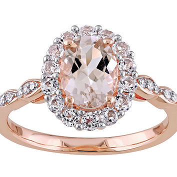 1.15 ct Morganite & 0.60 White Topaz Ring, 14KRose Gold — QVC.com