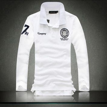 2016 England style men's fashion casual embroidered polo shirts /male long sleeve turn