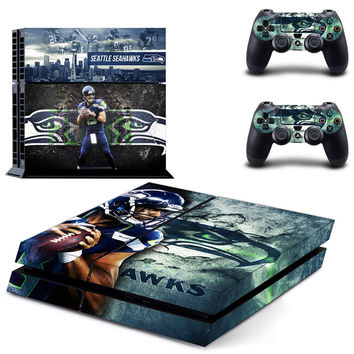 NFL Seattle Seahawks Vinyl Decal Skin For playstation 4 Console +2Pcs Stickers For ps4 Controllers