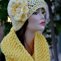 Hat and Scarf Set. Crochet Infinity Scarf and Flower Hat