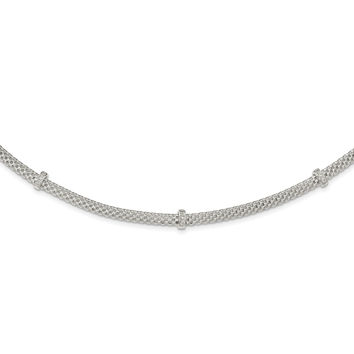 Sterling Silver Mesh with CZ Stations w/1in extension Necklace QG3923