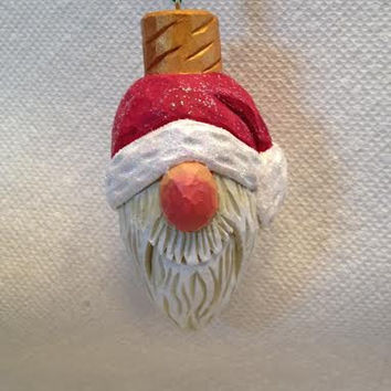 Hand Carved Light Bulb Santas Helper Tree Ornament        Wood Carving  Handmade Christmas Ornament OOAK