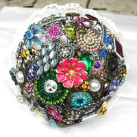 Brooch Bouquet, Wedding, Custom Colors, Rhinestone, All, Jewelry, Alternative, Vintage, Bridal, bling, Blue, Pink, Green, Purple, Yellow