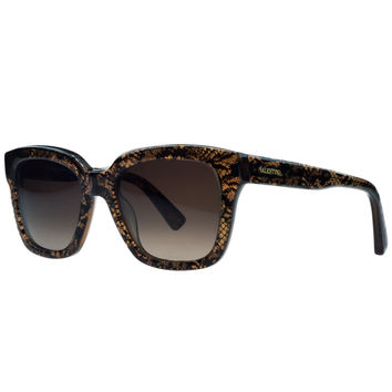 Valentino Brown Lace Wayfarer Sunglasses