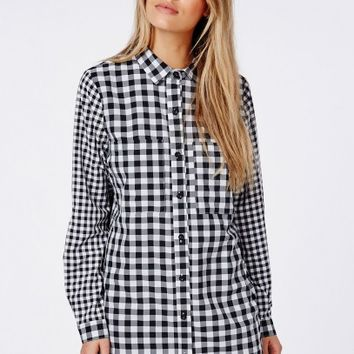 Missguided - Contrast Gingham Shirt Dress Black/White