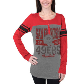 San Francisco 49ers New Era Women's Tri-Blend Henley Long Sleeve T-Shirt - Gray/Scarlet