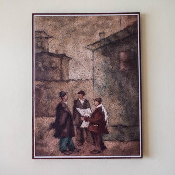 Vintage Oil on Canvas Impressionism Textured Painting of Men in Street Scene by Emil