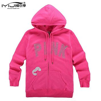Fleece Hoodies Women Harajuku Pink Hoodie Jacket Long Sleeve Zipper Coat Casual Kpop Love Vs Pink Sweatshirt Femme H156 Z30