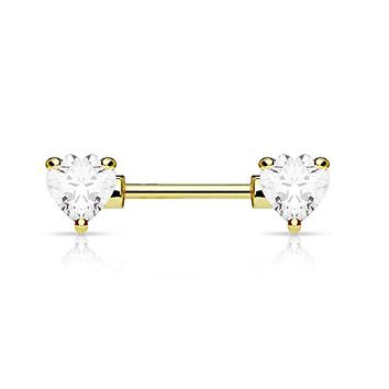 WildKlass Double Front Facing Heart CZ Prong Set 316L Surgical Steel Nipple Bar