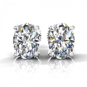 Perfect 1CT Oval Cut Russian Lab Diamond Solitaire Platinum Stud Earrings