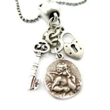Romantic Themed Skeleton Key Heart Shaped Lock and Angel Coin Shaped Charm Necklace in Silver